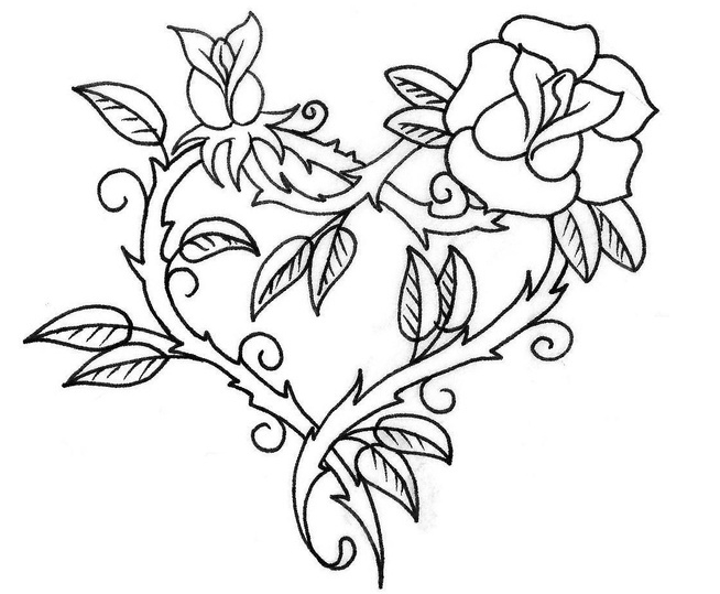 Gallery Heart Shaped Rose Drawing