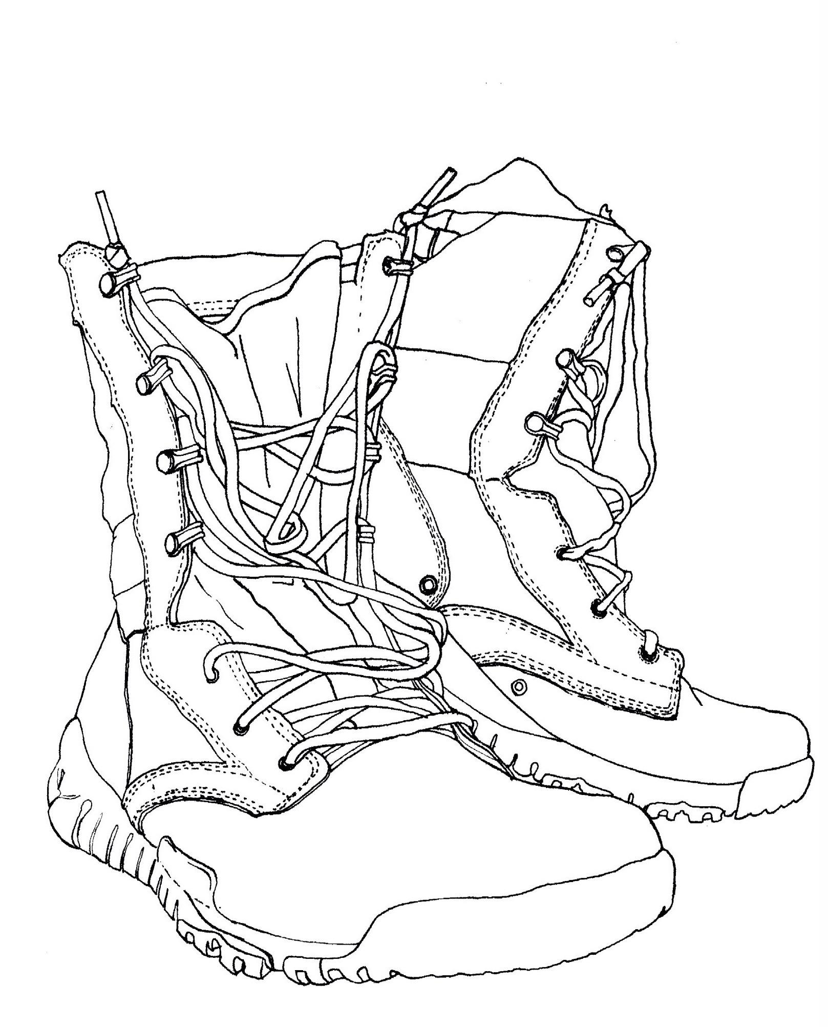 Hiking Boot Drawing At Getdrawings