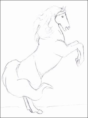 horse easy drawing horses draw simple step getdrawings