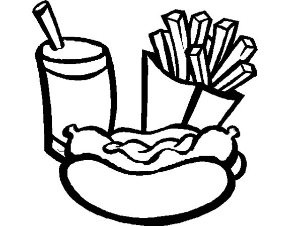 Fast Food In Hand Drawn Style Vector