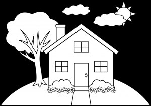 drawing simple houses coloring pages easy draw getdrawings line