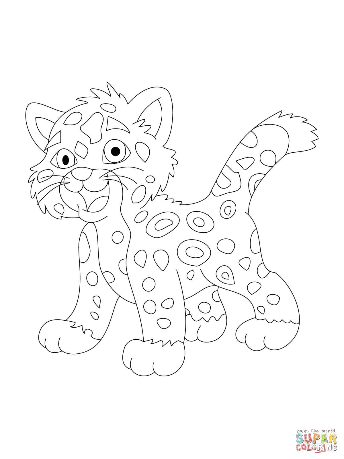 Jaguar Face Outline Sketch Coloring Page