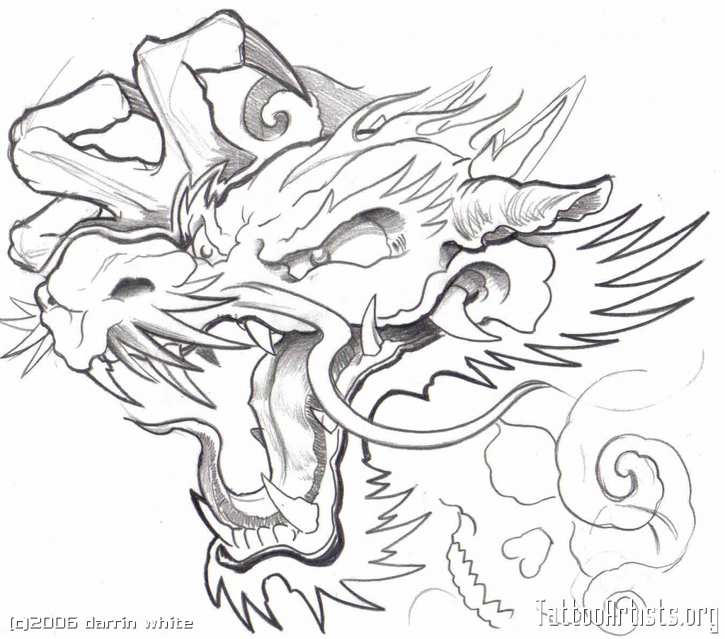 Japanese Dragon Head Drawing At Getdrawings