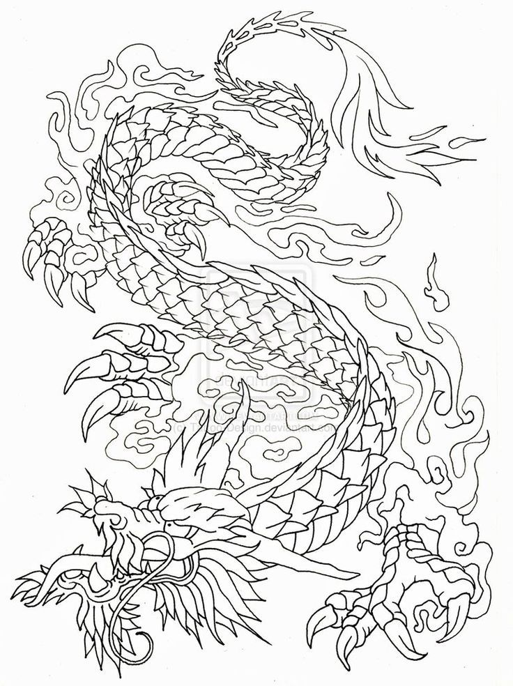 Chinese Dragon Line Drawing At Getdrawings Com