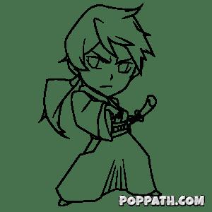 samurai drawing japanese warrior female draw chibi cartoon getdrawings pop