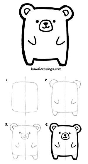 kawaii drawing drawings animal draw step easy animals bear doodles simple doodle cartoon cat tutorial kawaiidrawings getdrawings von niedliche steps
