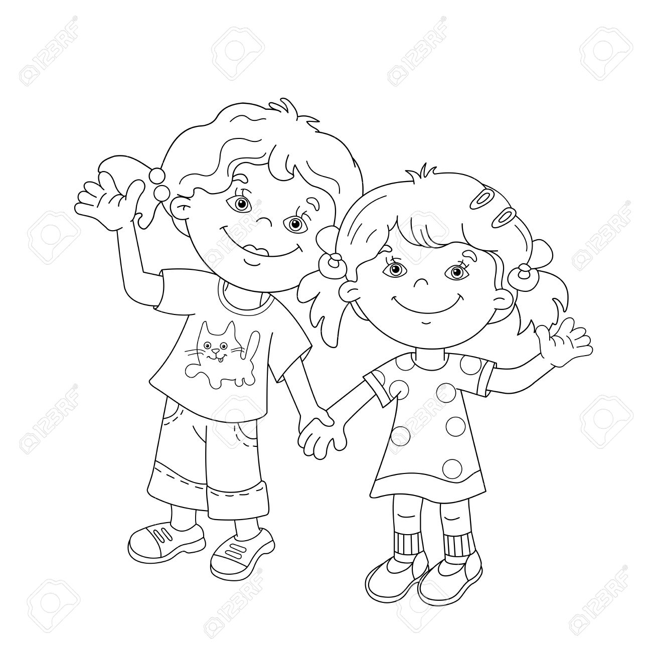 Kids Holding Hands Drawing At Getdrawings