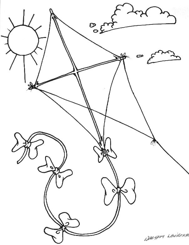 Kite Line Drawing Sketch Coloring Page