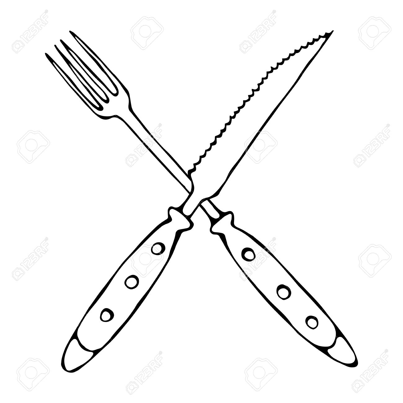 Knife And Fork Drawing At Getdrawings
