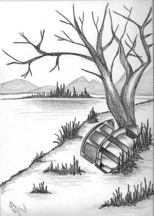drawing charcoal landscape pencil scenery simple getdrawings