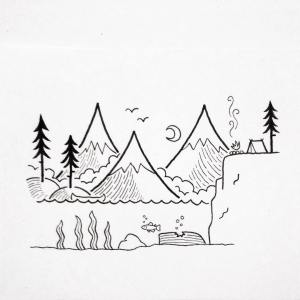 landscape simple drawing sketch
