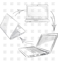 1200x1077 laptop in sketch style from different views and position royalty [ 1200 x 1077 Pixel ]