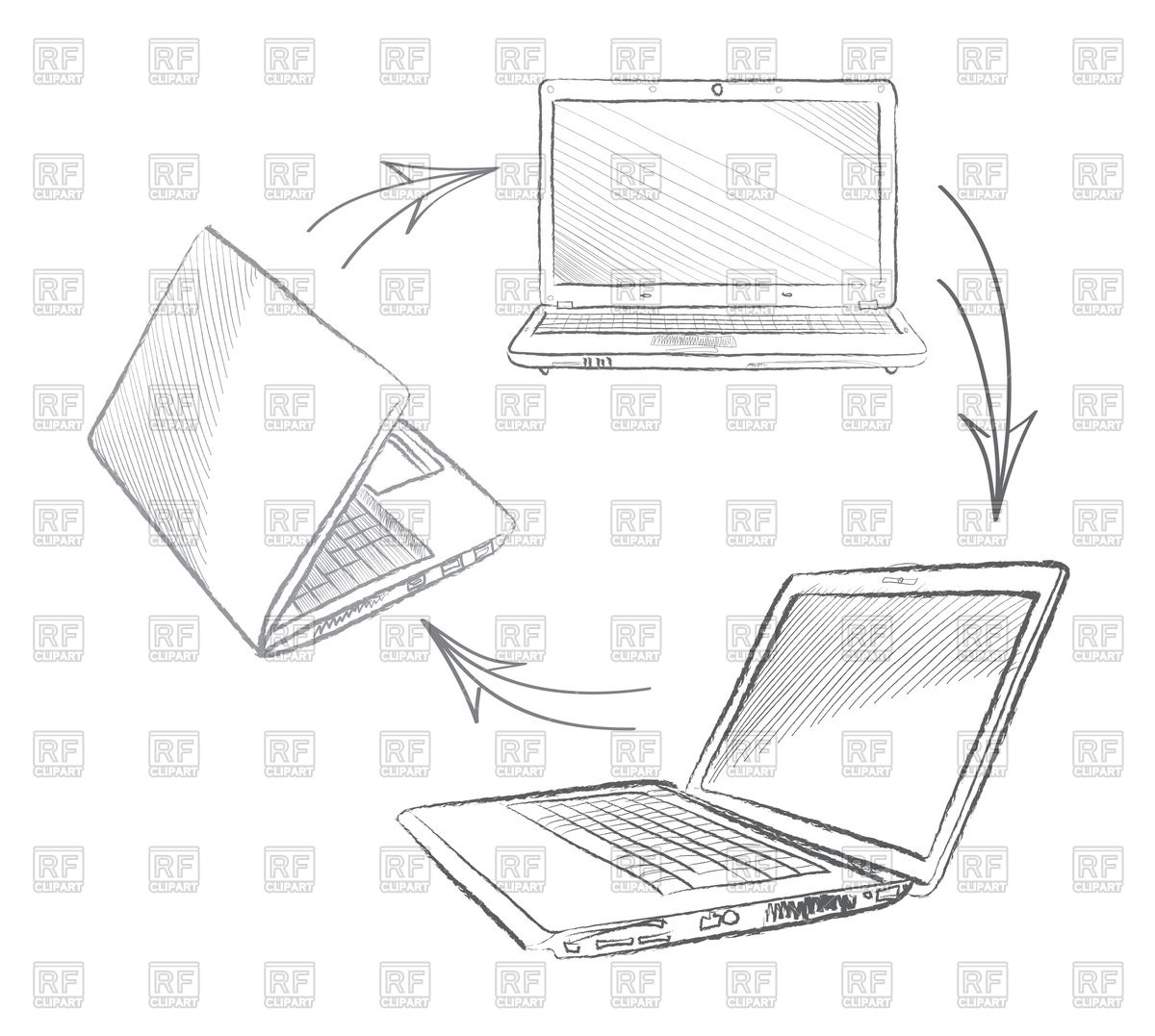 hight resolution of 1200x1077 laptop in sketch style from different views and position royalty