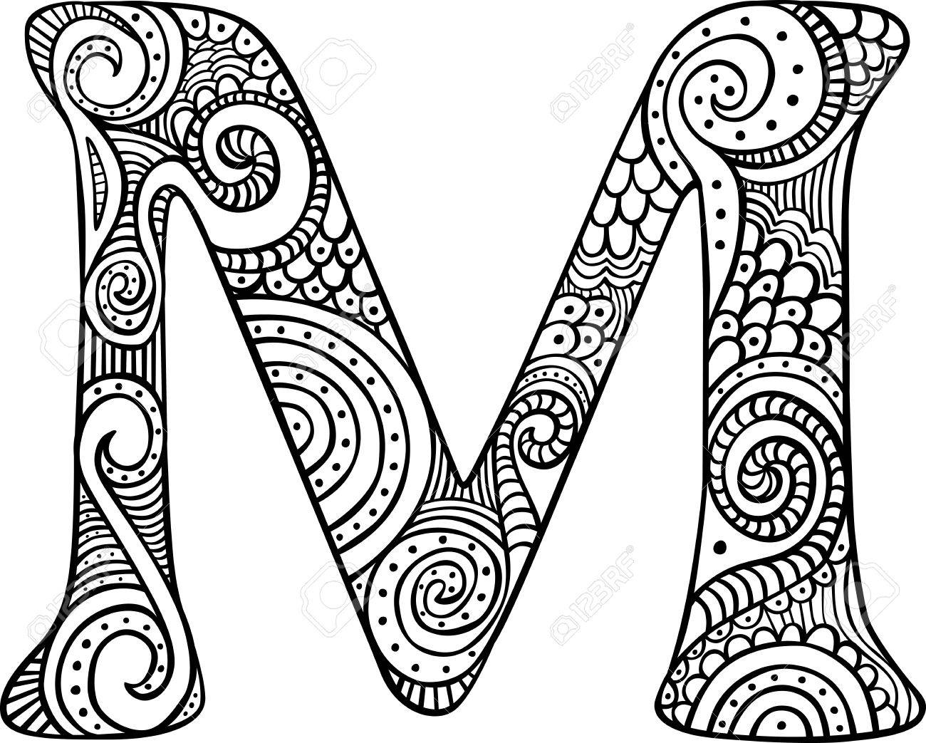 Free Adult Coloring Page Letter M Free Printable Alphabet Coloring