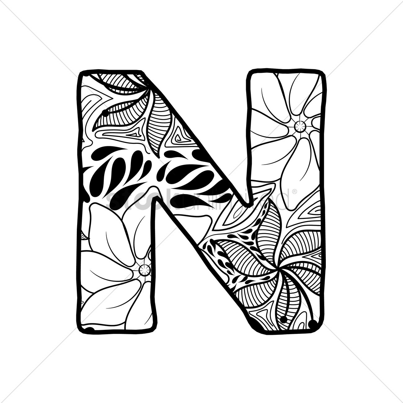 hight resolution of 1300x1300 letter n vector image
