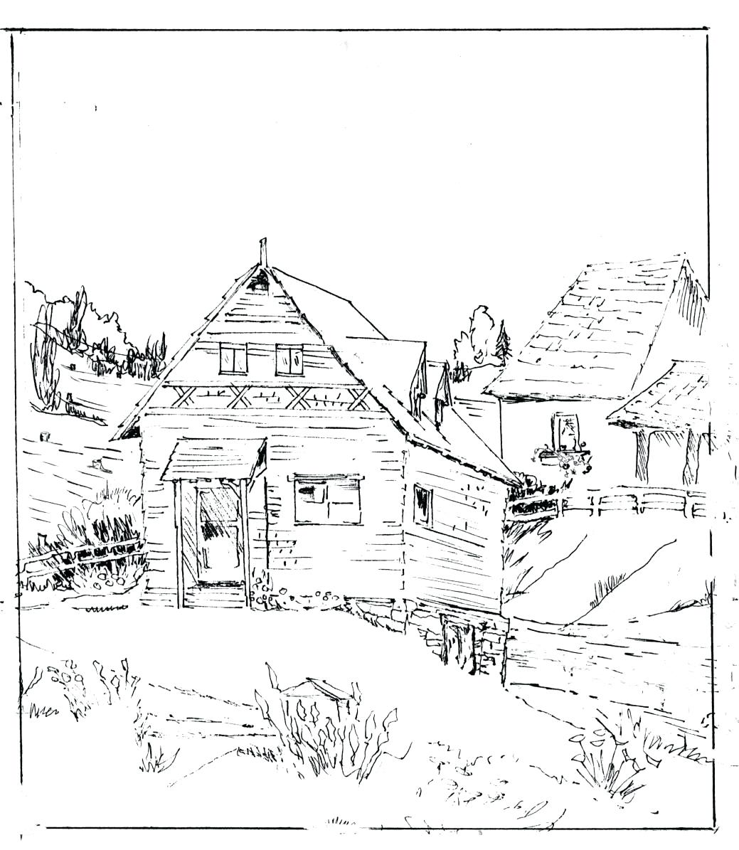 Log Cabin Drawing At Getdrawings