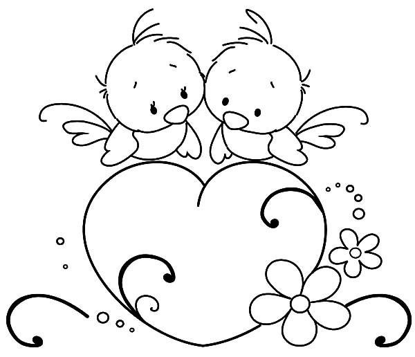 Birds Drawing Heart Love