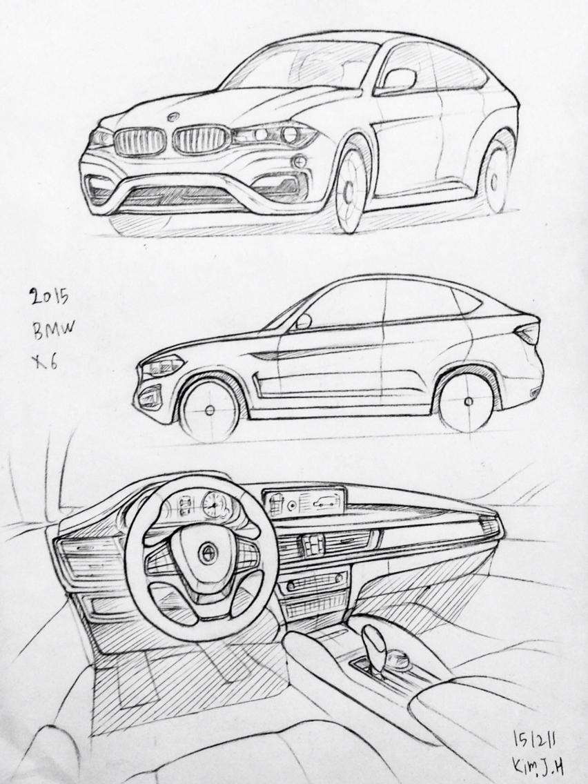 852x1136 drawn bmw car design