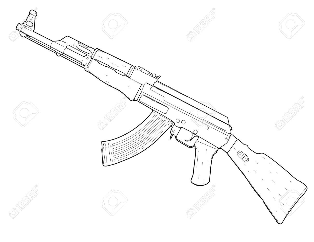 Machine Gun Drawing At Getdrawings
