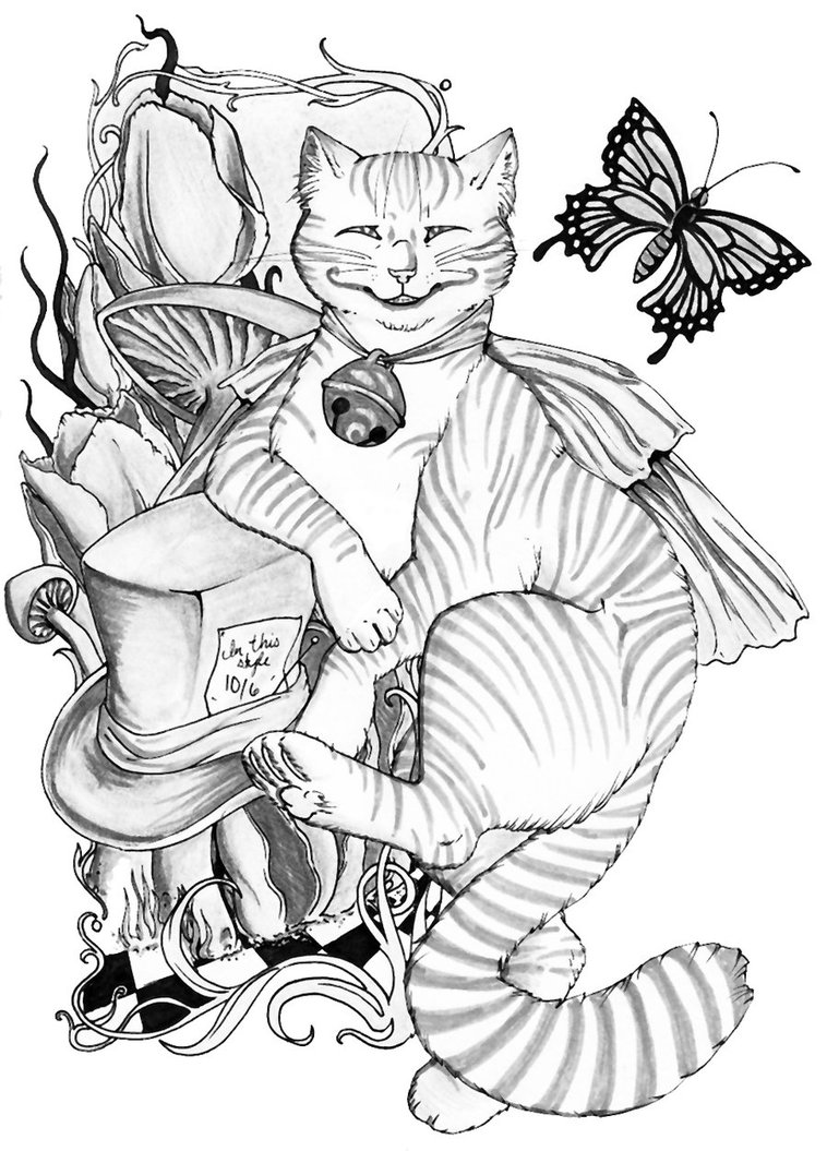 Cheshire Cat Mad Hatter Alice In Wonderland Drawings