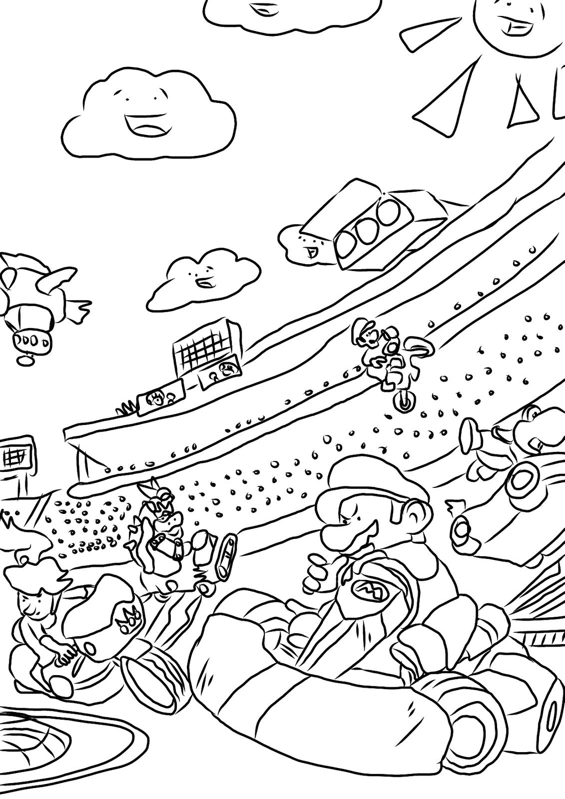 Coloriage Mario Kart 8 Deluxe : coloriage, mario, deluxe, Mario, Drawing, GetDrawings, Download