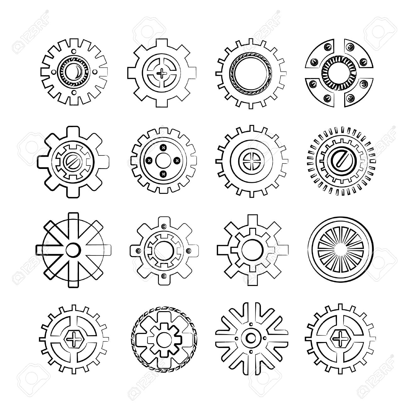 Mechanical Gears Tattoo Coloring Pages