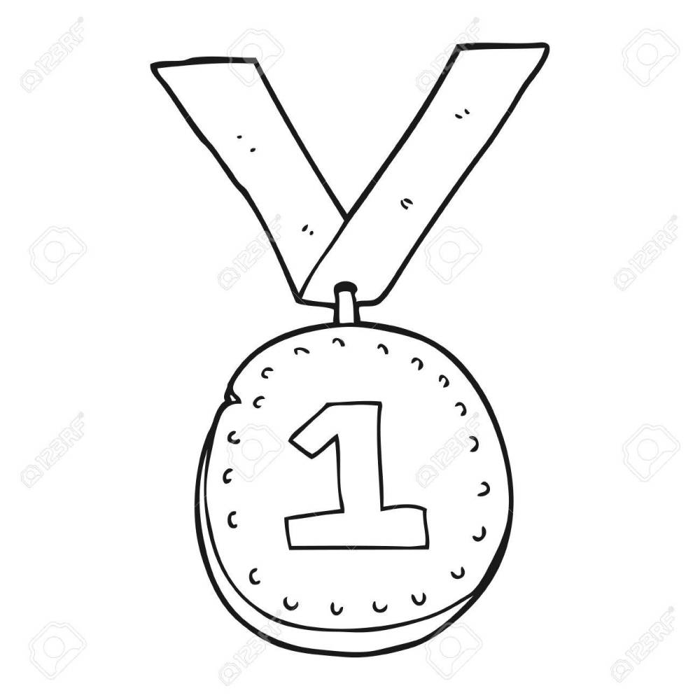 medium resolution of 1300x1300 freehand drawn black and white cartoon first place medal royalty