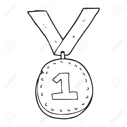 small resolution of 1300x1300 freehand drawn black and white cartoon first place medal royalty
