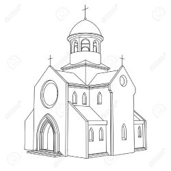 drawing church line medieval building sketch illustration vector getdrawings coloring basilica bell drawings pages clipart ancient para dibujos architecture easy