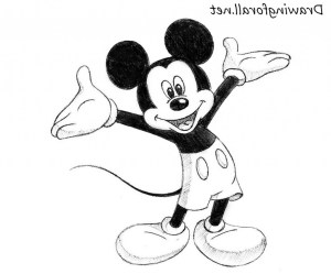 mickey mouse drawing easy micky pencil drawings simple minnie disney gangster draw getdrawings painting cartoon clip 3d paintingvalley
