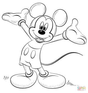 mickey mouse easy drawing coloring printable pages getdrawings