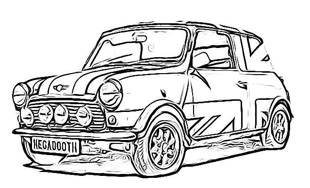 Mobile/mini Cooper Line Drawing Sketch Coloring Page