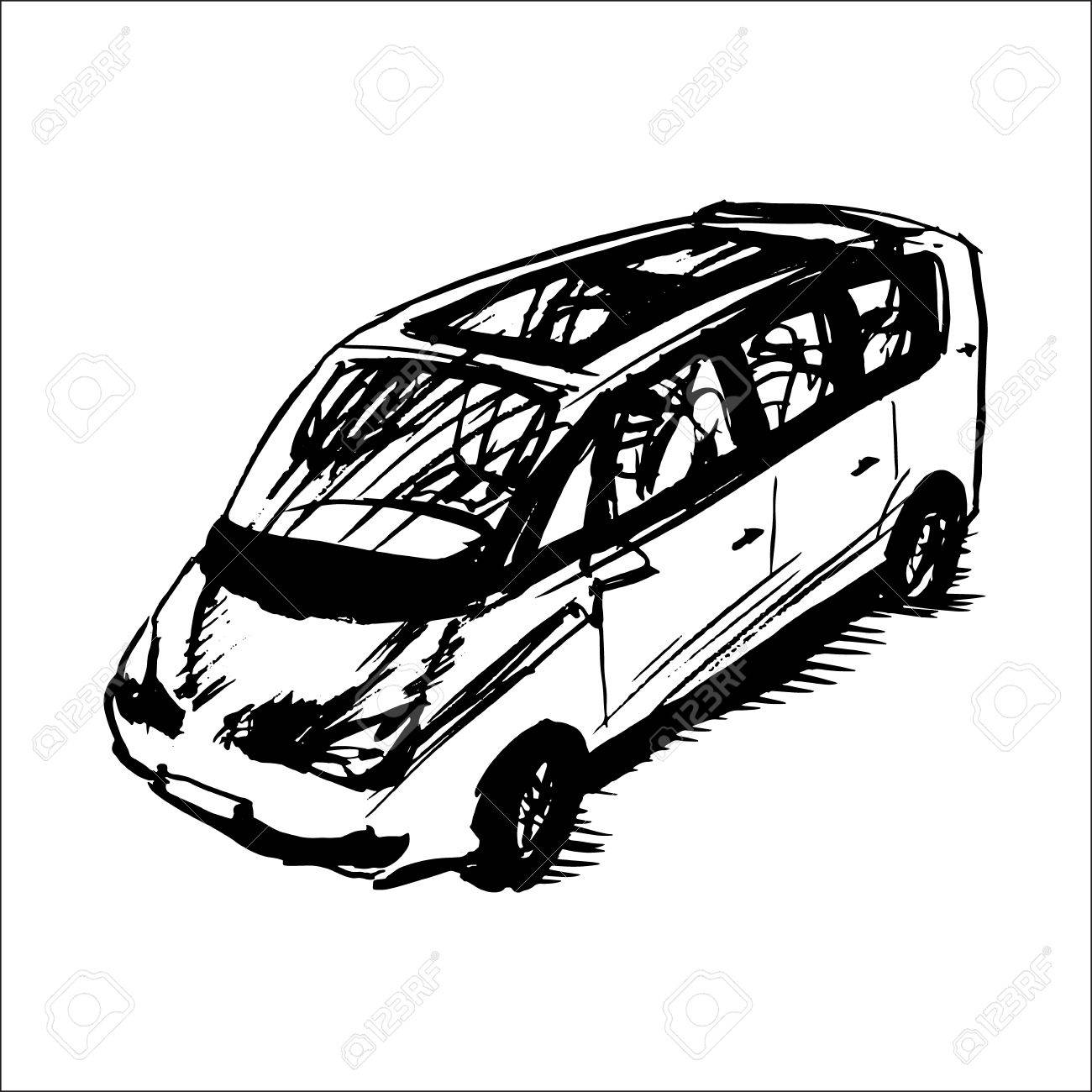 1300x1300 car minivan vector sketch royalty free cliparts vectors and