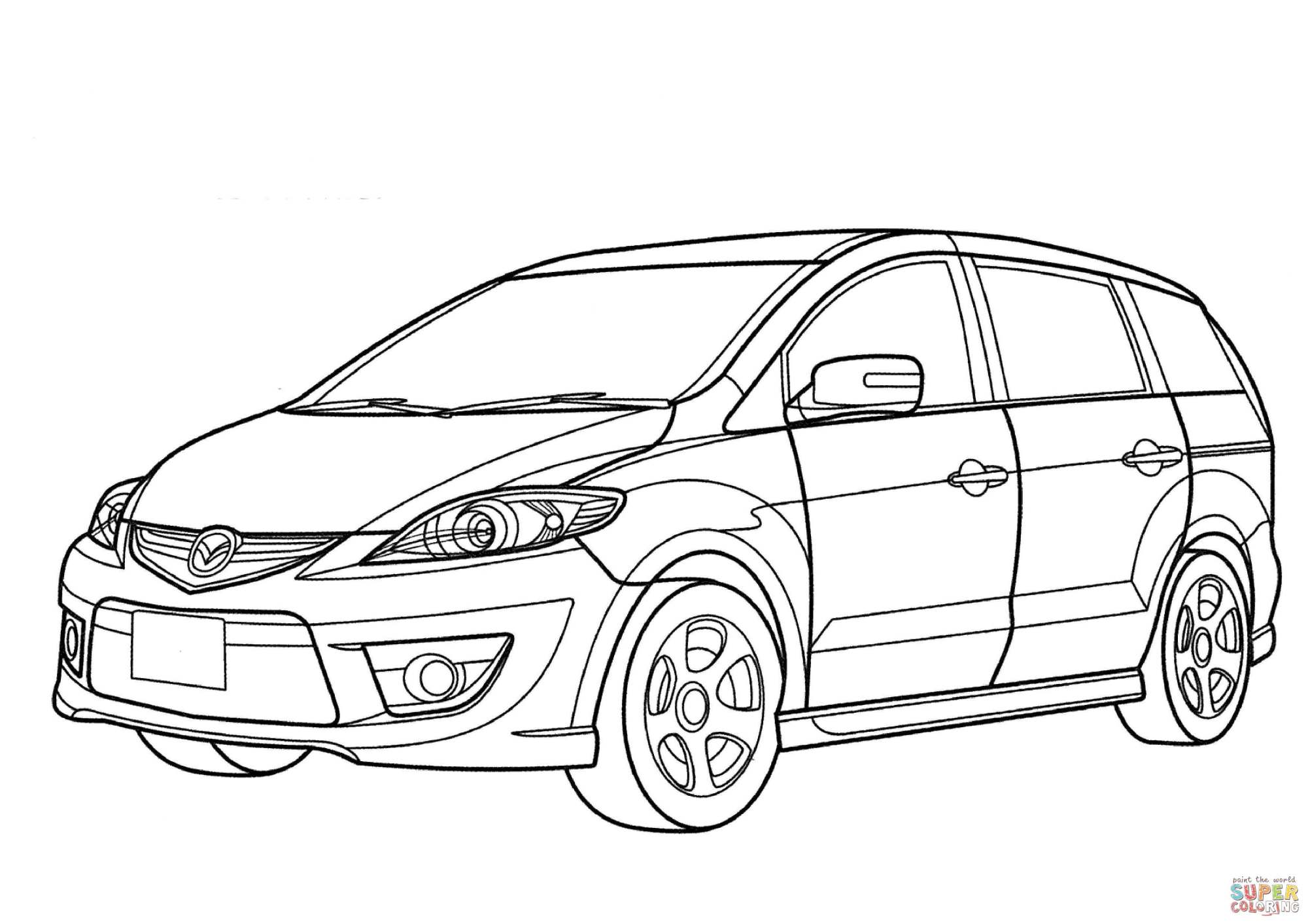 hight resolution of 3508x2480 mazda premacy minivan coloring page free printable coloring pages