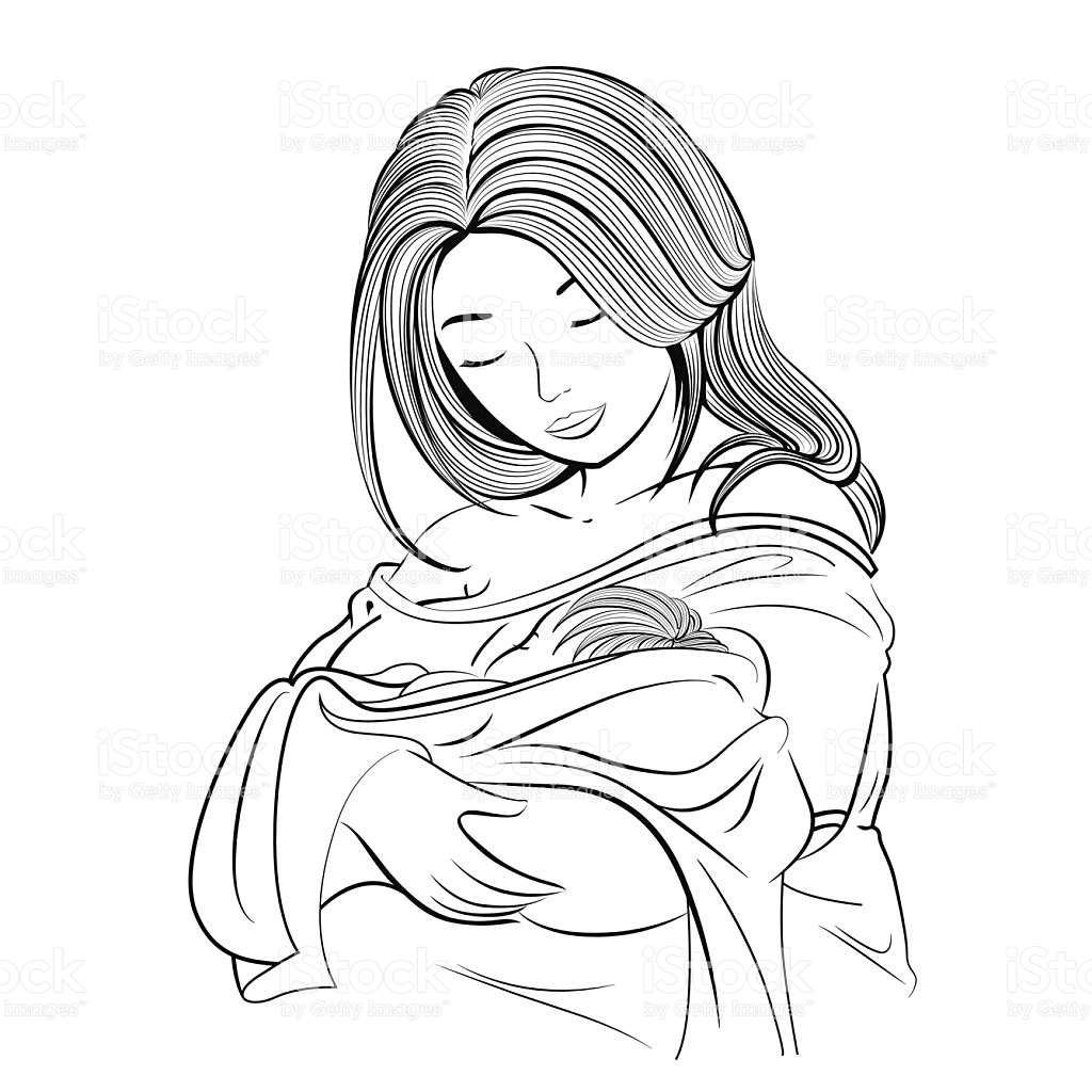 Mom Holding Baby Drawing At Getdrawings