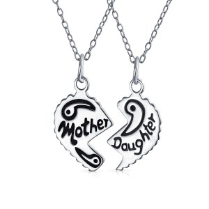 daughter mother drawing heart broken father gift sketch split silver necklace etched apart pcs sterling break shape getdrawings oxidized clipartmag