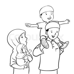 happy muslim vector drawing baby father dad mom illustration parents boy standing clip mother son malay together clipart sitting loving
