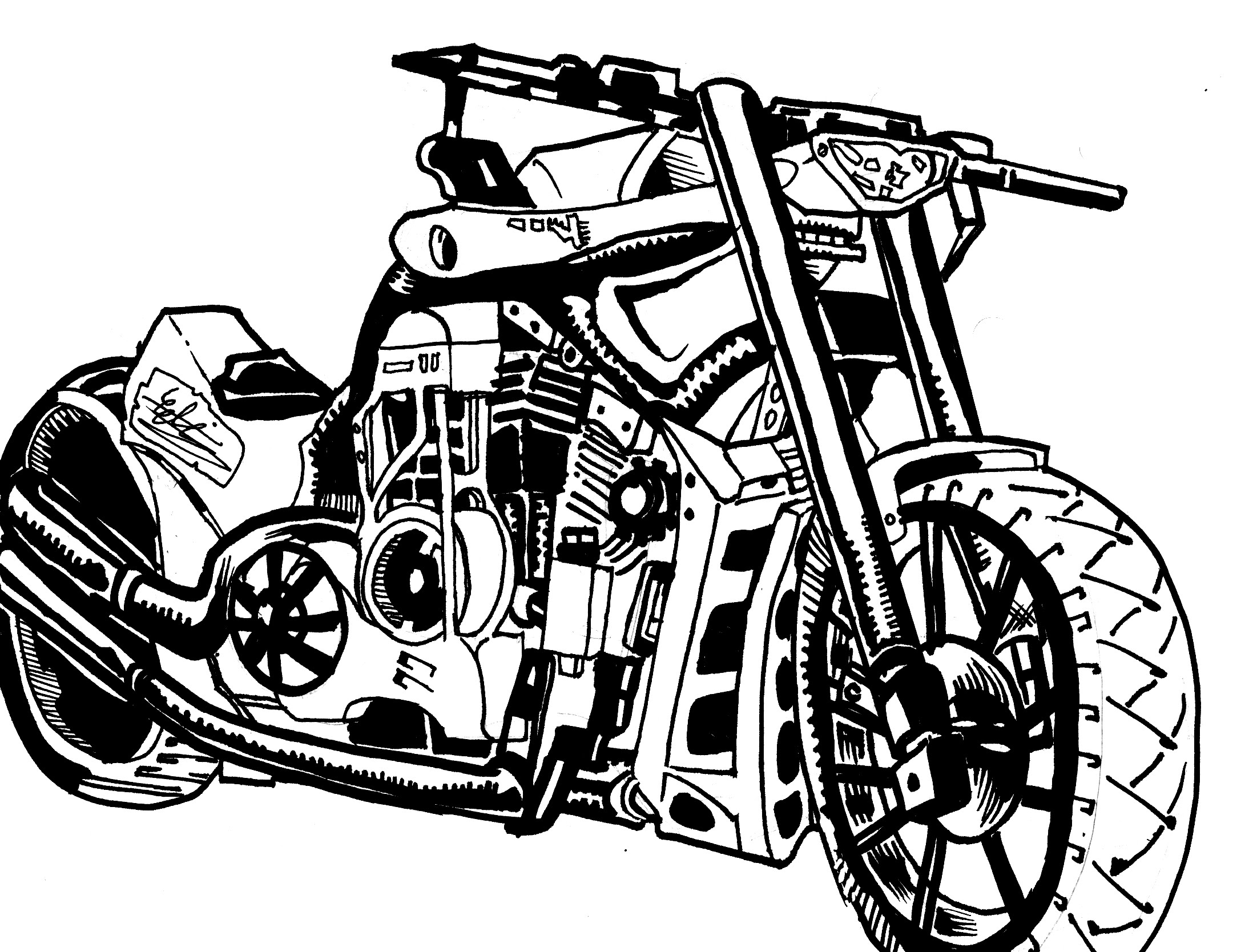 2195x1668 motorcycle sketch speed drawing pencil sketch to inks
