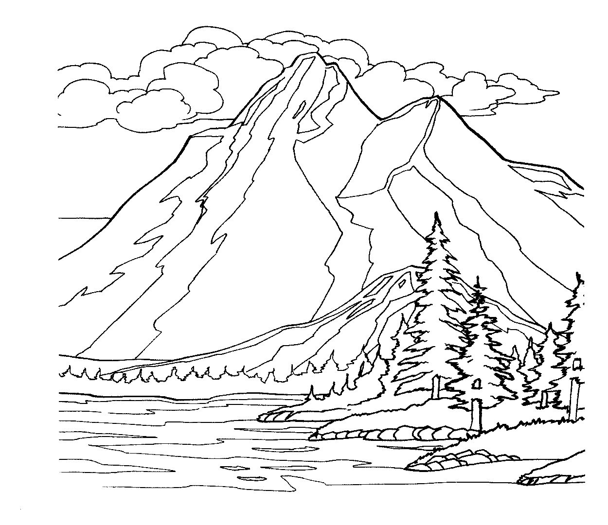 free coloring pages download mountain scene drawing at getdrawings free for personal use of mountain