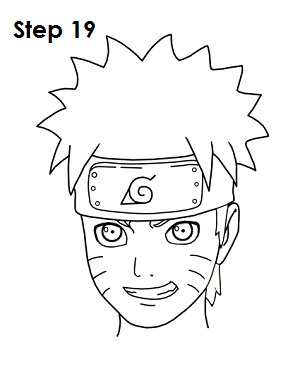 naruto easy step draw anime drawing steps face cartoon sketch head cartoons getdrawings side