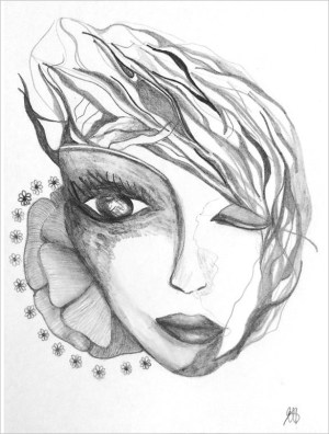 abstract drawing nice drawings bold face sketch easy getdrawings shiva muslim template paintingvalley