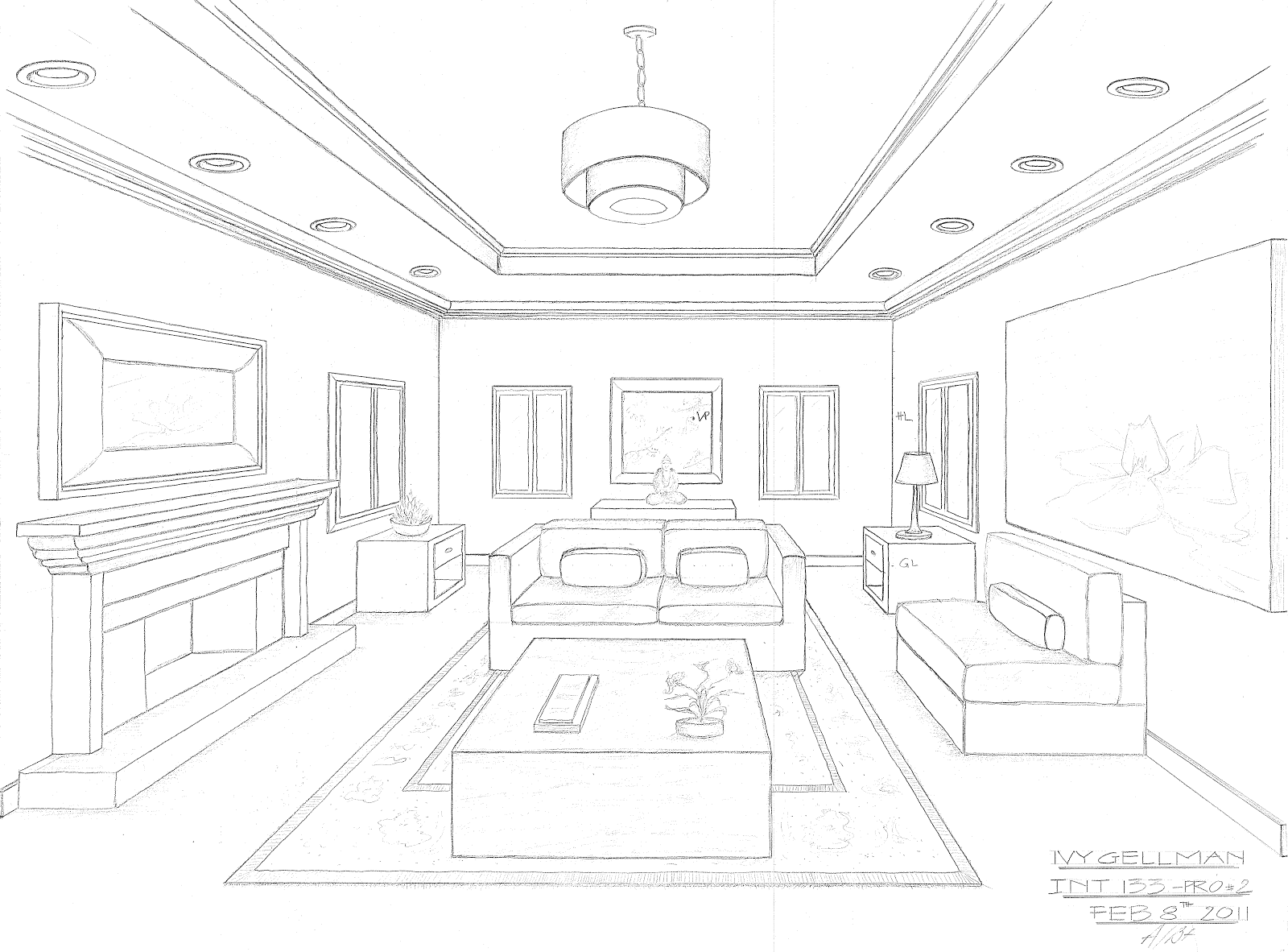 Simple One Point Perspective Living Room