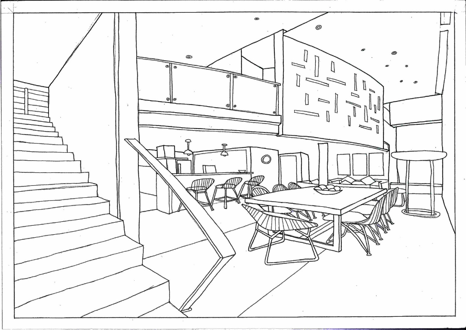 One Point Perspective Bedroom Drawing At Getdrawings