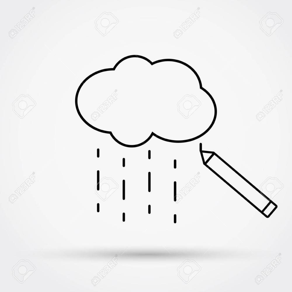 medium resolution of 1300x1300 pencil drawing cloud with rain outline simple flat icon vector
