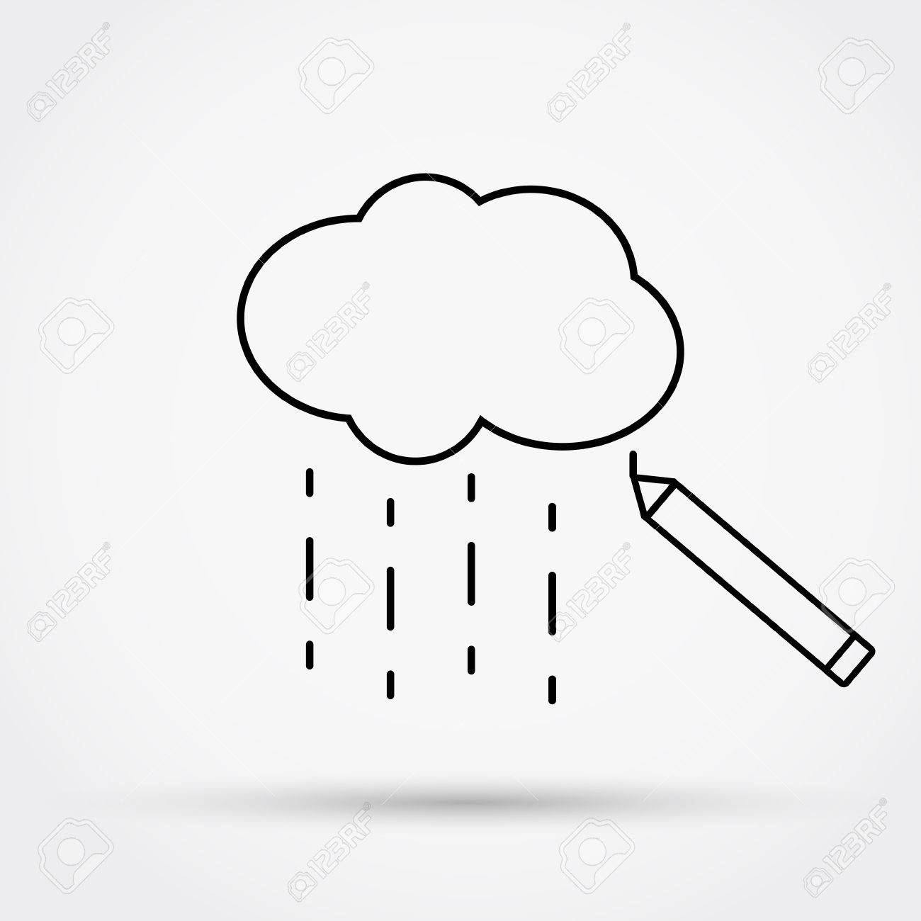 hight resolution of 1300x1300 pencil drawing cloud with rain outline simple flat icon vector