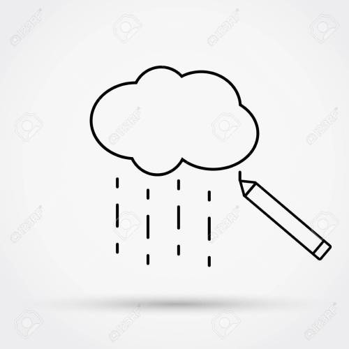 small resolution of 1300x1300 pencil drawing cloud with rain outline simple flat icon vector