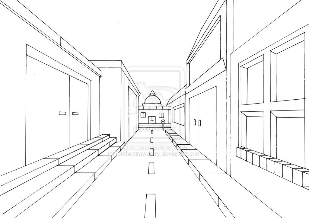 Simple One Point Perspective Drawing At Getdrawings Com