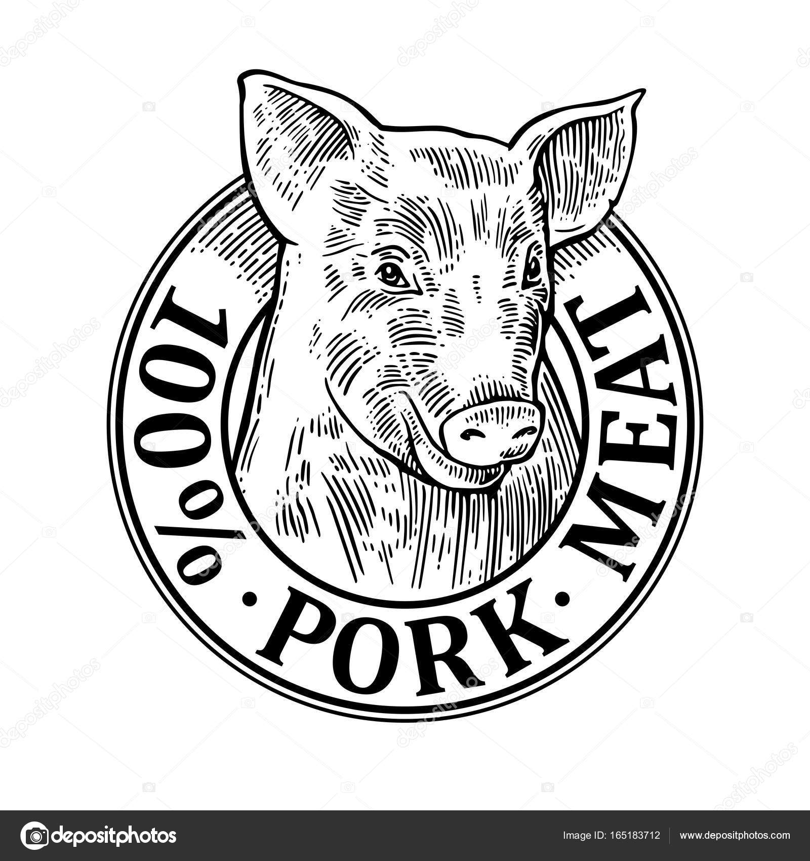 hight resolution of 1600x1700 pig head 100 percent pork meat lettering vintage vector