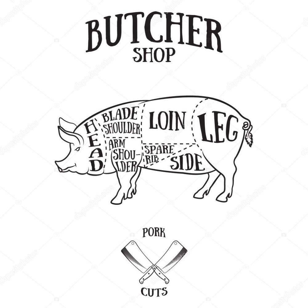 medium resolution of 1024x1024 butcher cuts scheme of pork stock vector klauskunstler