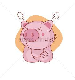 1300x1300 pig character sulking vector image [ 1300 x 1300 Pixel ]
